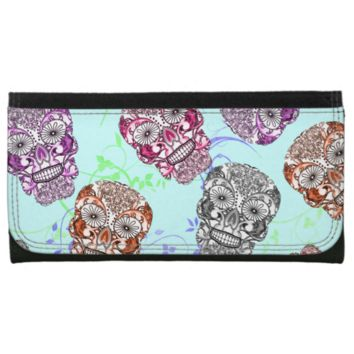 Trendy Ornate Sugar Skulls Graphic Wallets