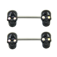 CZ Crystal Black Skull Nipple Barbell Piercing Ring 14g
