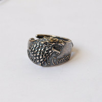 Game of thrones, Stark ring, Stark jewelry, House stark, Direwolf ring, Wolf ring, Wolf jewelry, Direwolf jewelry, Winter is coming