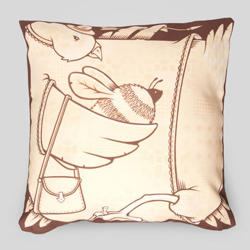 The Birds and the Bees Pillow by Jeremy Fish