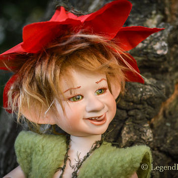 Emil cute pixie boy art doll, ball jointed doll, BJD doll, porcelain doll, poseable art doll, fantasy figure, handmade doll, happy figurine