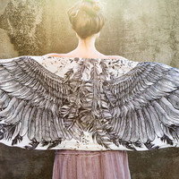 Women scarf, Hand painted Wings and feathers on White, stunning unique and useful, perfect gift