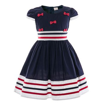 Girls Dress Preppy Style Striped Children Dresses Cotton Kids Bow Dress Baby Casual School Frocks Summer Girl Clothing