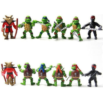 Teenage Mutant Ninja Turtles TMNT Action Figures Toy New Classic Collection MINI (Size: 5 cm, Color: Green) = 1946296196