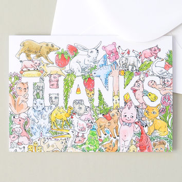 Thanks Greeting Card | Illustration by Marie Gardeski