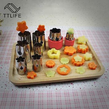 TTLIFE 8Pcs Flowers Cartoon Fruit Vegetable Cutter Mold Stainless Steel Cake Cookie Biscuit Cutting Shape Tools
