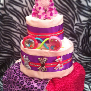 Pink Purple Leopard  3 Tier Diaper Cake