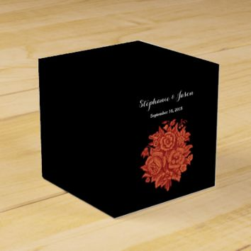 Vintage Orange and Black Wedding Flowers V01 Party Favor Boxes