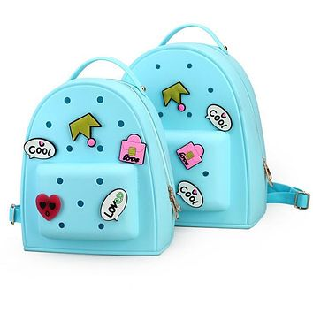 Women Jelly Graffiti Backpacks Designer Girls Pink Bag Travel Bags Children Kid Bookbag Small Candy Color Kawaii Cute schoolbag
