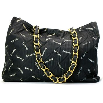 Chanel Vintage Logo Printed Canvas Tote Bag Black and Beige with Gold Hardware