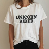 Unicorn rider Letters Print Women T shirt Funny Cotton Casual Shirt For Lady White Top Tee Hipster BZ-319