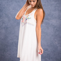 Sweetly Embroidered Dress, White