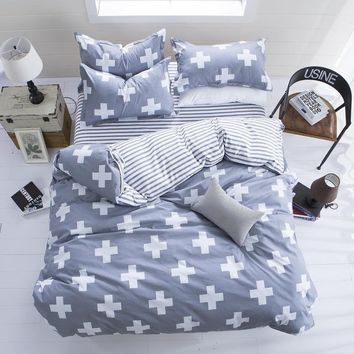 Grey sign style 3/4Pcs of bedding set luxury Include Duvet Cover Bed sheet Pillowcase Cotton