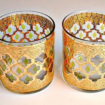 Vintage Culver Valencia Rocks Glasess Lot of 2 Old Fashioned Hollywood Regency Gold