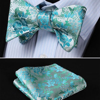 GC07 SILVER, BLUEFloral 100% Silk Butterfly Tie Self Tie Bow Tie Pocket Square B