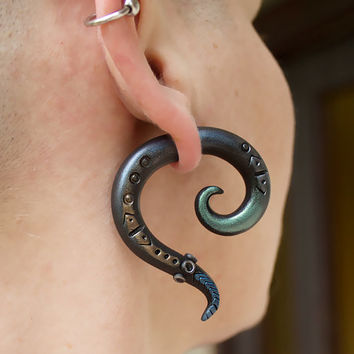 Fake ear plug Faux gauge earrings Steampunk gauges 0g 00g 2g