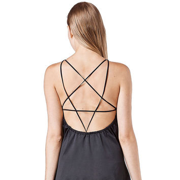 Black Strappy Dress with Star-shape Back