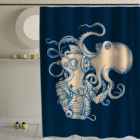 Deep Sea Discovery Octopus special custom shower curtains that will make your bathroom adorable.