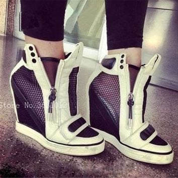 2018 Fashion Platform Wedges Shoes Woman High Heel Shoes Women's Zip Patchwork Leather/Lace Mesh Height Increasing Casuals Shoes