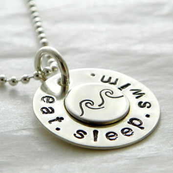 Eat. Sleep. Swim. hand stamped sterling silver necklace