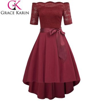 Sexy Off Shoulder Dresses 2018 Summer Women Half Sleeve High Low Retro Party Dresses Wine Red Black Vintage 50s Vestido Bow Belt