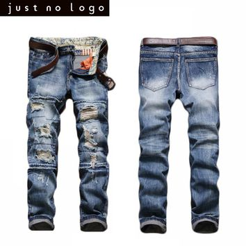 Mens Blue Jeans Destroyed Holes Straight Slim Fit Ripped Zipped Jeans Distressed Denim Pants HipHop Punk Trousers Vintage Chic