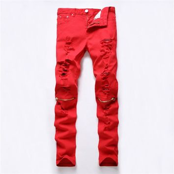 New Ripped Men Women Jeans Red White Slim Fit Printed Fear Of God Tide Hole Zpper Denim Fabric Hip Hop Casual Mens Pants