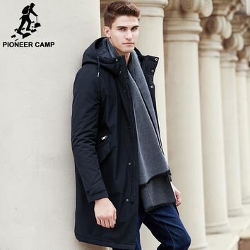 Pioneer Camp 2017 New arrival autumn winter  jacket men brand clothing cotton thick long coat male quality fashion parkas men