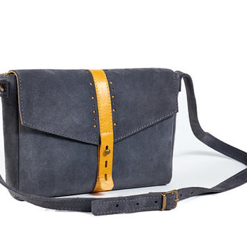 Grey and Yellow small leather crossbody bag. Suede leather clutch. Grey leather bag