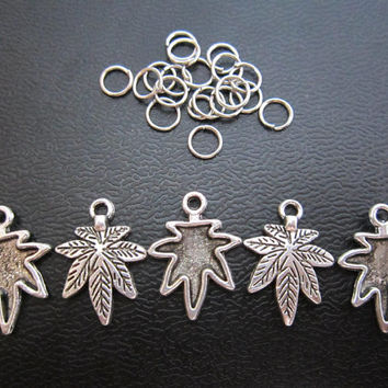 2PCS Leaf Antique silver Dreadlock Jewellery pendants dread Jewelry Accessories