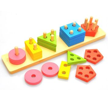 Baby Montessori Wooden Toy Geometry Colors Educational Toys For Children 3D Puzzles Stacked Classification Bricks Toys For Kids