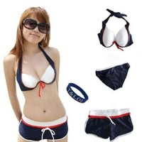 Sexy Women Bandeau Bikini 3 pieces Swimsuit Set Swimwear Bra Top Bottom - M