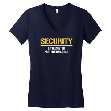 security little sister protection squad Women's V-Neck T-Shirt