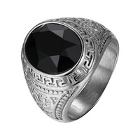 Black Solitaire Stone Stainless Steel Men Ring