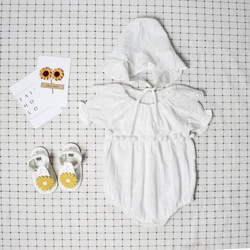 baby girls romper summer embroideried lace baby clothing pompom ruffle collar baby baptism clothes newborn baby clothes jumpsuit