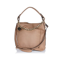 River Island Womens Beige chain trim slouch bag