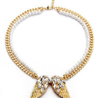 Angel Wing Pearl and Chain Necklace