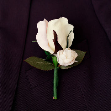 Silk Boutonniere Blush Classic Spring Rose