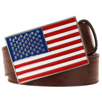 Personality fashion belt Metal buckle American flag belts men Decorative Strap women belt hippie Street hip hop
