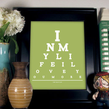 The Beatles Eye Chart, In My Life I Love You More, 8 x 10 Giclee Print BUY 2 GET 1 FREE