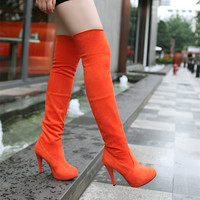 Fashion Winter Women Boots Over The Knee Thin High Heeled Shoes Round Toe Thigh High Boots Platform Woman Shoes big size 34-43
