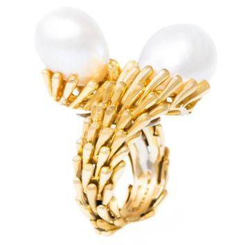 1970s David Webb South Sea Pearl and Gold Toi et Moi Ring