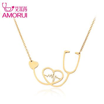 AMORUI Medical Stethoscope Chain Necklace Rose Gold/Gold/Silver Nurse Bijoux Collier Femme Heartbeat I Love You Necklaces Mujer