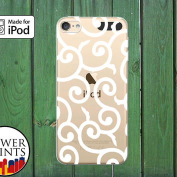 White Vines Swirls Modern Cute Tumblr Inspired Custom Clear Case For iPod Touch 5th Generation and iPod Touch 6th Generation iPod 5 iPod 6
