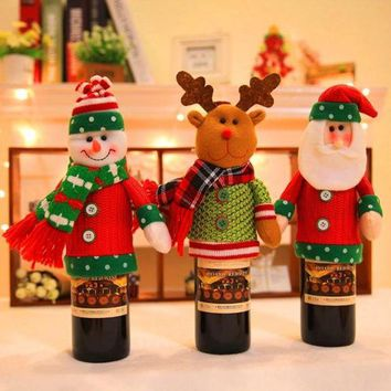 ONETOW Christmas Home Supplies Cartoon Doll Cute Wine Bottle Cover Decorations