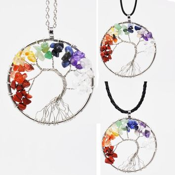 1PC Natural Stone Handcrafted Tree of Life Necklace Women's Pendant Necklace Free Dropshipping