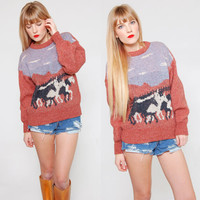 Vintage 80s Wool Sweater Southwestern HORSE Print Pull Over Equestrian Jumper