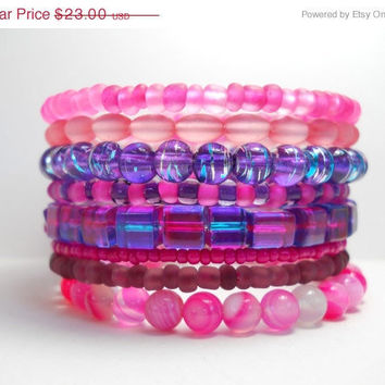 ON SALE Memory Wire Bracelet Calming Pink Agate and Purple Stacked Beaded Wrap