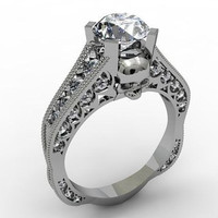 Skull Engagement Ring in Platinum with Genuine G.I.A Center Diamond V V S 1