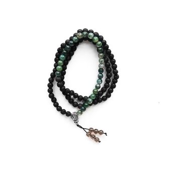 Lava and Moss Gemstone Mala